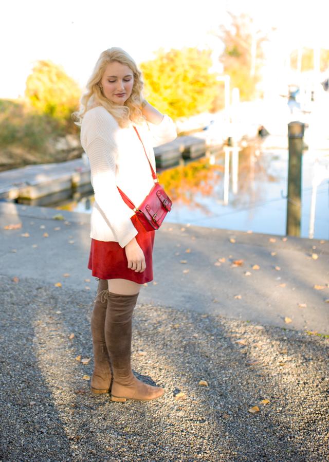 Herbstoutfit, Overknee-Stiefel und Strick